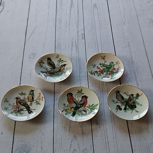 "Other - Set of 5 bird plates 4.5"" in size"